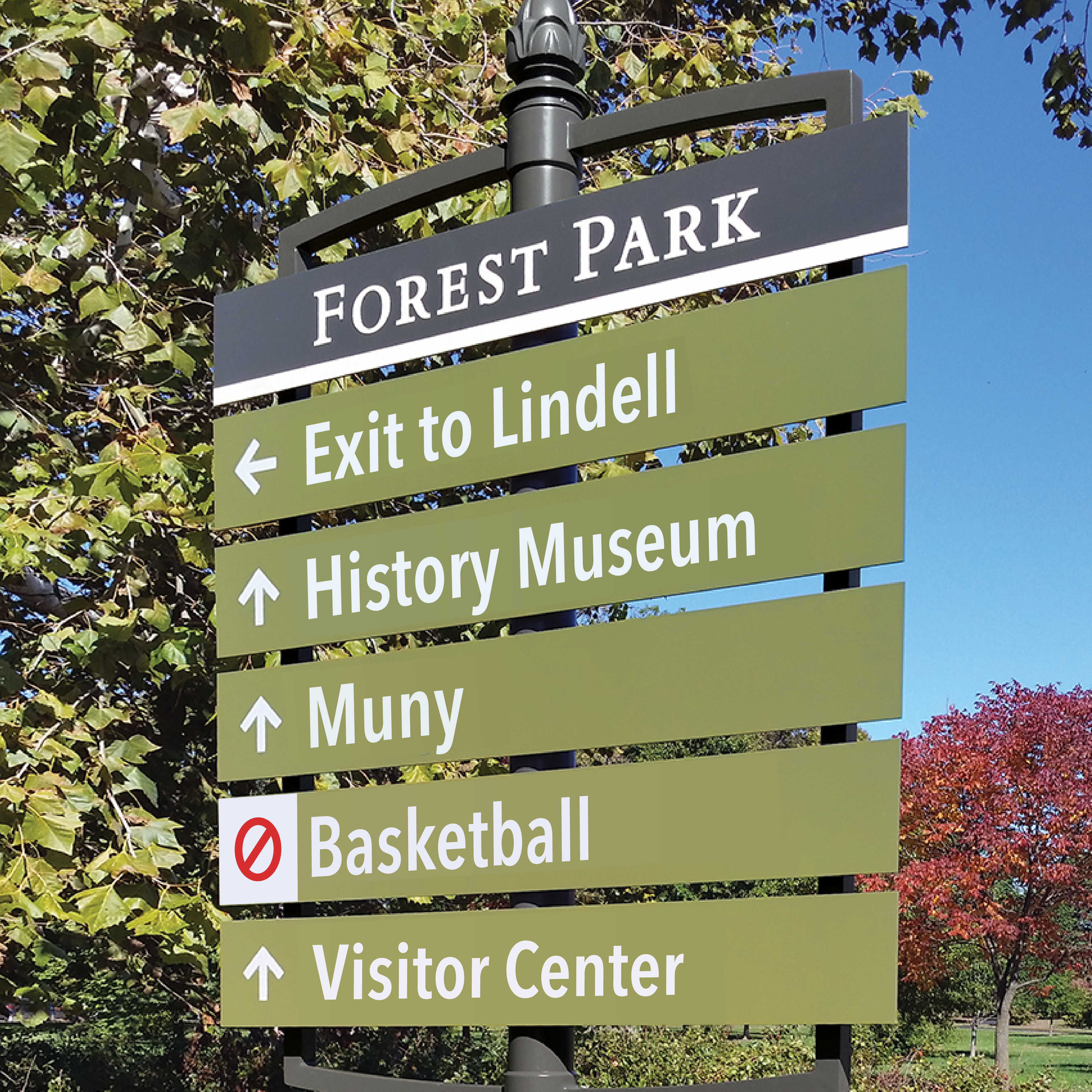 Photoshopped wayfinding sign at Forest Park indicating no basketball locations