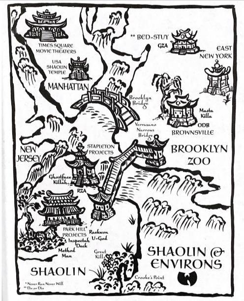 Figure 3. A map a Staten Island (Shaolin), Manhattan, and Brooklyn (Brooklyn Zoo) emulating East Asian art.
