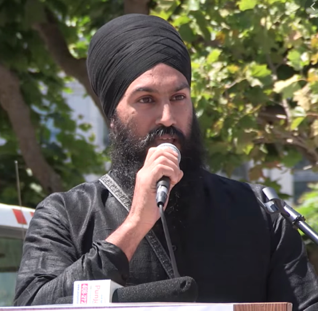 Jagmeet Singh speaking at a separatist rally