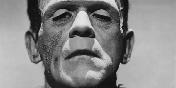 close up of Boris Karloff as Frankenstein's Monster